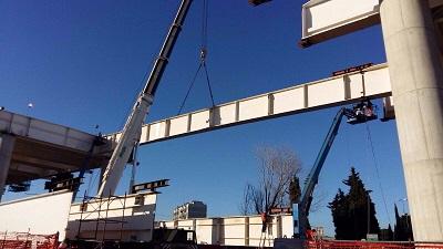 montaggio travi ponte asse nord sud