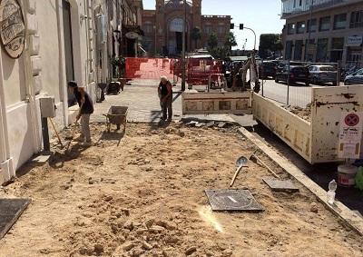cantiere per sostituzione pavimentazione in corso vittorio emanuele