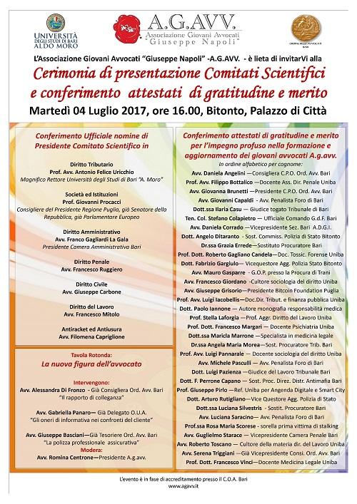 Bitonto, cerimonia di presentazione comitati scientifici e consegna degli attestati di merito per l'impegno profuso nella formazione dei giovani avvocati