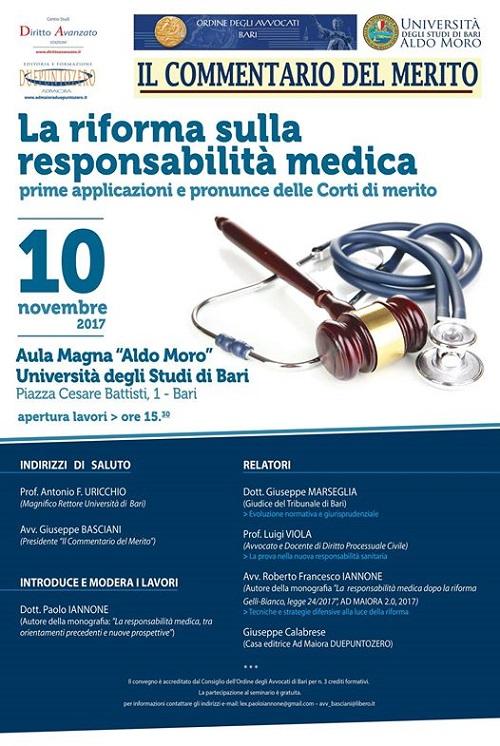 locandina convegno 'la riforma sulla responsabilit medica'