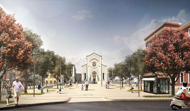 rendering piazza redentore - vista chiesa