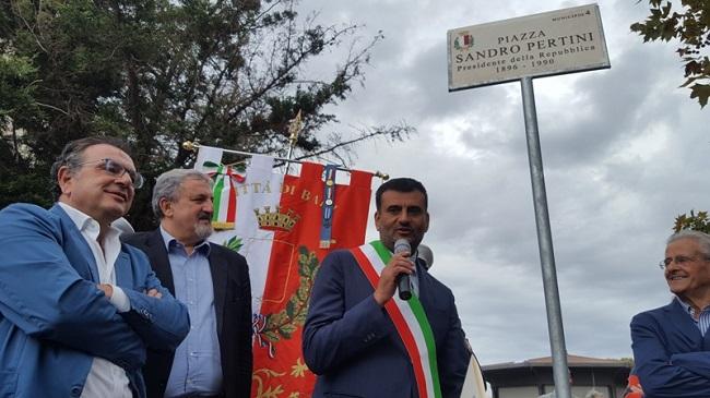 cerimonia di intitolazione al presidente Pertini di una piazza del Municipio IV