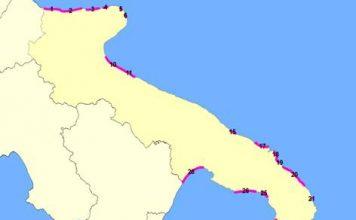 aree a rischio erosione costiera in puglia