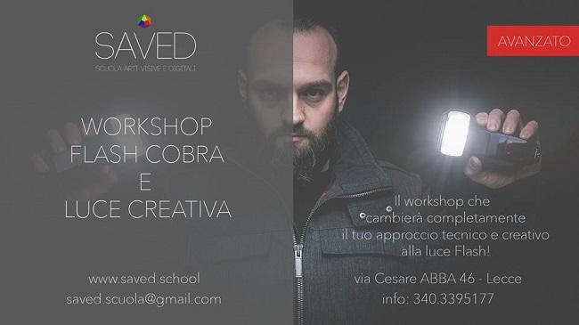 banner workshop flash cobra e luce creativa da saved