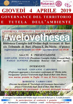 locandina conferenza informativa post service internazionale 'we love the sea'