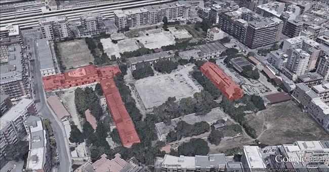 pubblicata la gara per la progettazione della sede dell'accademia delle belle arti nella ex rossani - vista aerea
