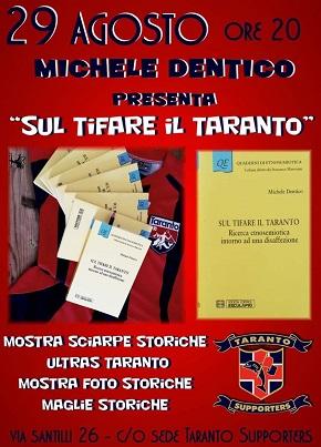 locandina presentazione libro 'sul tifare il taranto'