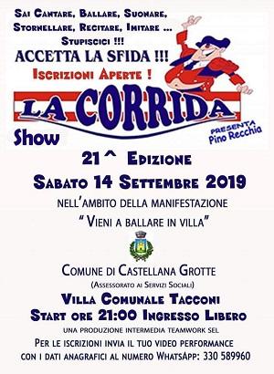 locandina selezioni per la corrida show di castellana grotte