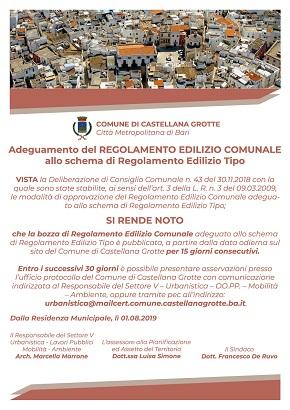proposta del nuovo regolamento edilizio comunale - pubblicazione