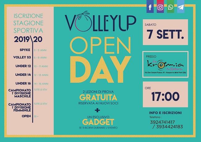 banner open day della volleyup acquaviva