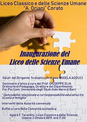 locandina inaugurazione del liceo delle scienze umane