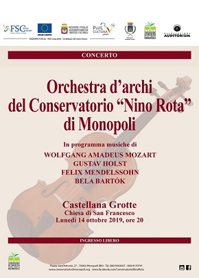 locandina orchestra d'archi alla chiesa di san francesco