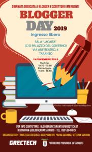 locandina evento dedicato a blogger e scrittori emergenti