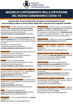 locandina coronavirus, disposizioni in tema di accesso agli uffici pubblici
