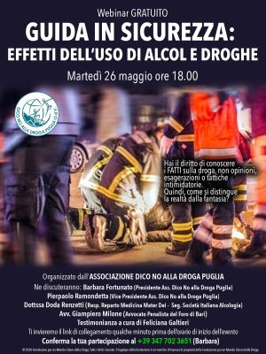 guida in sicurezza effetti dell'uso di alcol e droghe