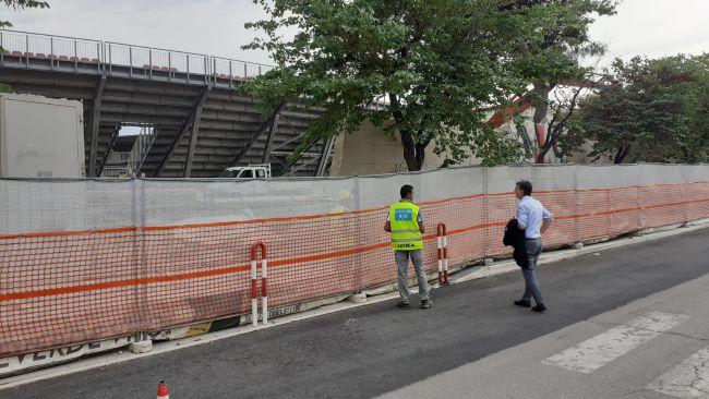 stadio 'puttilli', iniziato stamani l'abbattimento del muro di cinta