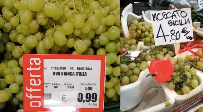 prezzi uva 23 settembre