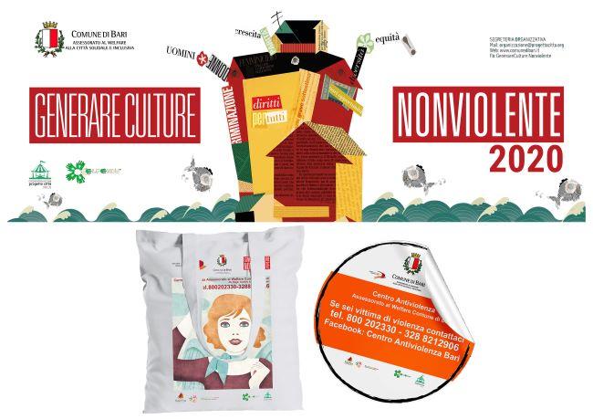 generare culture non violente - sticker e borsa