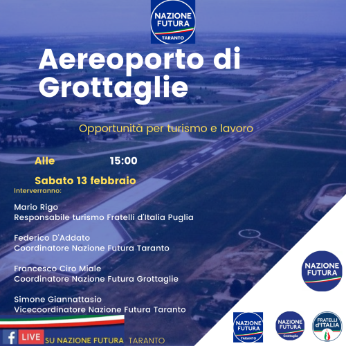 locandina nazione futura taranto aeroporto