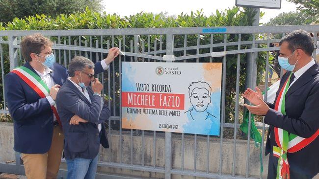 il sindaco oggi a vasto - intitolazione villa comunale a michele fazio