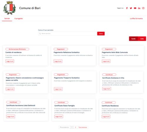 attivati i servizi anagrafici sul nuovo portale del progetto egov2 (schermata)