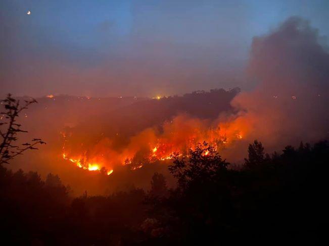 l'incendio nel versante di vico