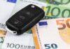 closeup euro money with car key