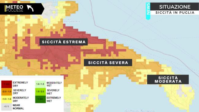 siccità, la mappa del centro meteo pugliese