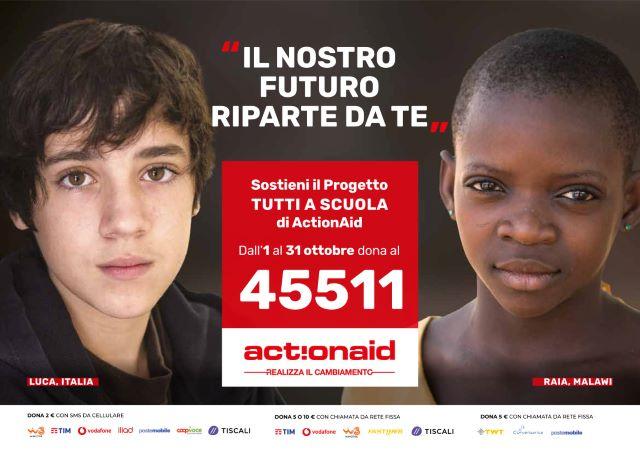 actionaid, cartello 'tutti a scuola'